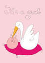Baby girl and stork on pink background Royalty Free Stock Image