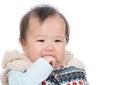 Baby girl suck finger into mouth Royalty Free Stock Photos