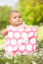 Baby Girl In Summer Dress Sitting In Bag Royalty Free Stock Photography