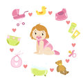 Baby Girl Surrounded With Object It Needs Royalty Free Stock Photo