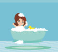 Baby girl taking bath Royalty Free Stock Photo
