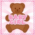 Baby girl teddy bear polka dot block letters pastel pink background rick rack border frame for albums scrapbooks Stock Image
