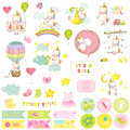 Baby Girl Unicorn Scrapbook Set. Decorative Elements