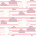 Baby girl vector seamless pattern. Light pink fun sky print for textile.