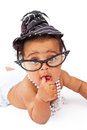 Baby Girl Wearing Glasses And Hat Royalty Free Stock Photo