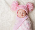 Baby Girl Wrapped Up Newborn Blanket, New Born Kid Bundled Hat Royalty Free Stock Photo