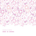 Baby girls horizontal border seamless pattern background vector with hand drawn elements Stock Photos