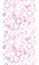 Baby girls horizontal seamless pattern background vector with hand drawn elements Royalty Free Stock Photography