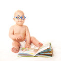 Baby In Glasses Reading Book A...