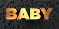 Baby - Gold text on black background - 3D rendered royalty free stock picture