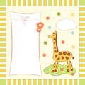 Baby greeting card with giraffe Stock Image
