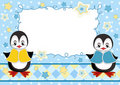 Baby greeting card with penguins. Stock Photos