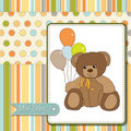 Baby greeting card with  teddy bear Royalty Free Stock Photos