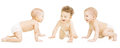 Baby Group Crawling In Diaper, Toddler Children Happy Smiling Royalty Free Stock Photo