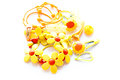 Baby hair clips yellow on white Royalty Free Stock Photos