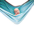 Baby in hammock isolated on white background Stock Photos