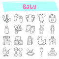 Baby hand drawn doodle icon set
