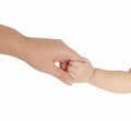 Baby hand holding her mother finger Royalty Free Stock Photo