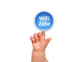 Baby hand pressing button wifi Stock Photos