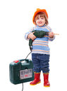 Baby in hardhat with drill and tool box Stock Image