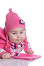 Baby hat with pigtails Stock Image