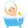 Baby having bath bathtub Stock Image
