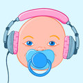 Baby head with earphones blue eyed headphones and pacifier Stock Photography