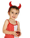 Baby with horns imp on a white background Royalty Free Stock Images