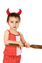 Baby with horns imp on a white background Stock Photo