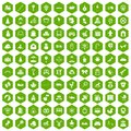 100 baby icons hexagon green