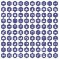 100 baby icons hexagon purple