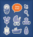 Baby icons paper cut style editable vector set Royalty Free Stock Images