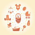 Baby icons round card editable vector illustration Stock Photos