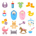 Baby icons set collection of cute for web or print Royalty Free Stock Photo