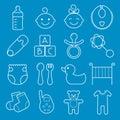 Baby icons set. Isolated on blue background.