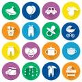Baby icons set. White symbols in flat design. Vector illustratio