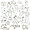 Baby icons, toys, clothes and cradle, hand drawn sketch vector illustration Royalty Free Stock Photo