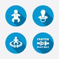 Baby infants icons fasten seat belt symbols toddler boy with diapers symbol signs child pacifier and pram stroller circle concept Royalty Free Stock Image