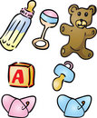 Baby items illustrations Royalty Free Stock Photo