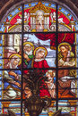 Baby jesus john mary stained glass cathedral granada spanje Royalty-vrije Stock Afbeeldingen