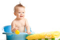 Baby kid taking bath and playing Stock Image
