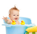 Baby kid taking bath and playing Royalty Free Stock Photography