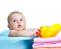 Baby kid taking bath and playing Royalty Free Stock Photos