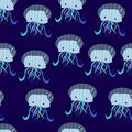 Vector seamless cartoon funny pattern, print, texture with jelly fish on the dark blue background