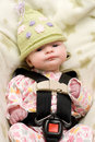 Baby in Knit Hat with Expression Royalty Free Stock Photo