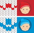 Baby knitted caps banner for design illustration Stock Image