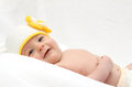 Baby with knitted hat Stock Image