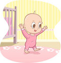 Baby learns to walk - vector cartoon Stock Photography