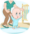 Baby learns to walk - vector cartoon Royalty Free Stock Photography