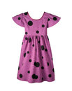 Baby lilac dress pattern of children s summer with a pattern of black balls on the white background Royalty Free Stock Photography